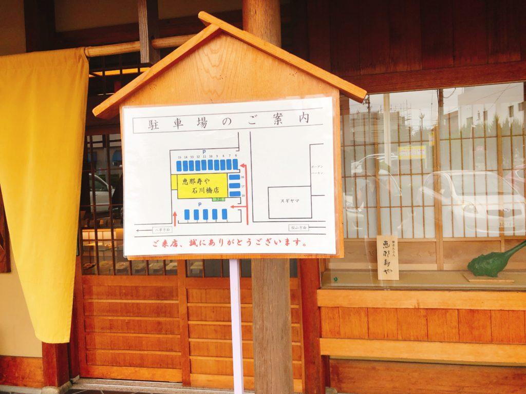 すや石川橋の駐車場の看板