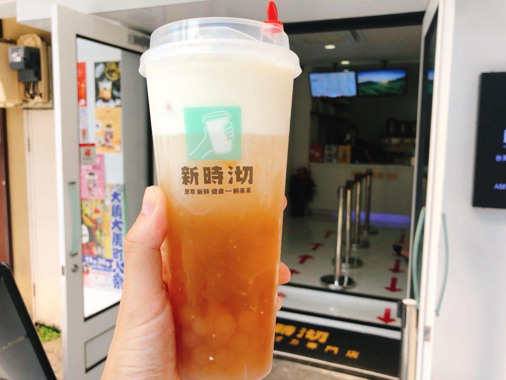 大須「新時沏(しんじき)」の黄金タピオカ入りのチーズタピオカフォーム(680円)