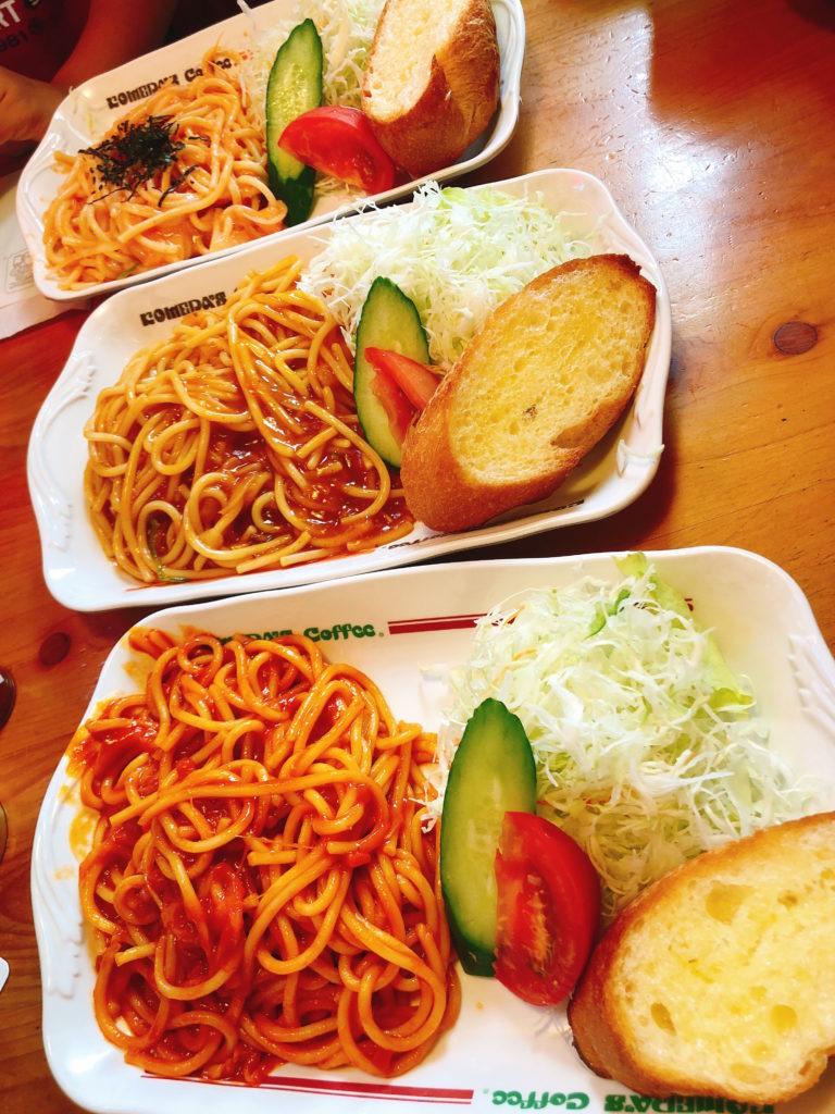 コメダのスパゲッティ(パスタ)3種類