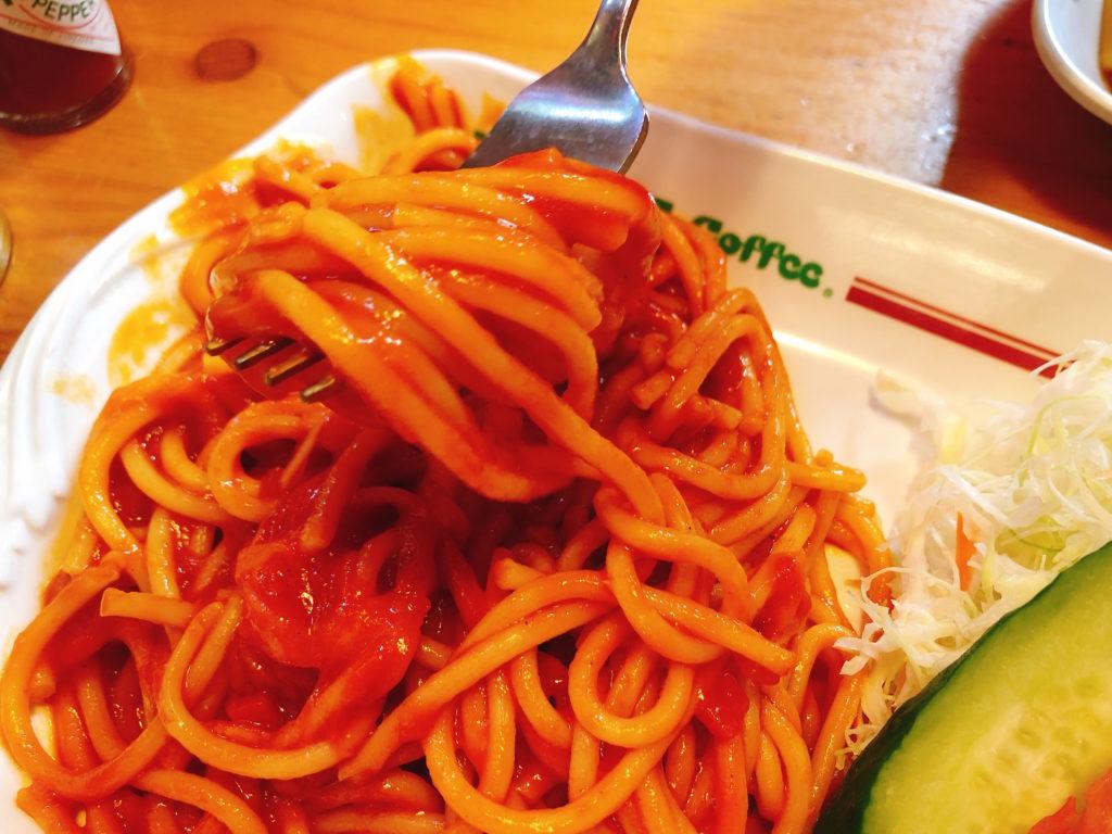 コメダのスパゲティ(パスタ)の喫茶店の王道ナポリタンのアップ写真