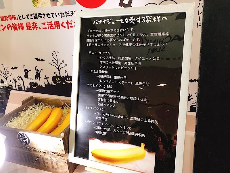 大須 モンキーバナナのバナナの栄養の看板