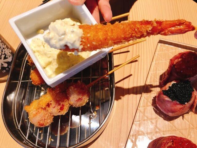 寿司と串とわたくし 今宵の串揚げ3種盛り